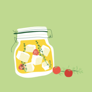 Feta and tomato in jar illustration
