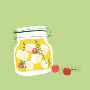 Feta and tomato in jar illustration
